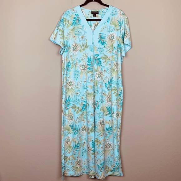 Miss Elaine Womens Micro Terry Floral Print Zip Robe Watercolor Choose Size New